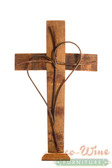 Wine Barrel Double Cross Heart  Rust color18'' With Stand