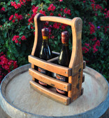 Sturdy oak carrier securely holds two wine bottles for transport and display. Wine not included.