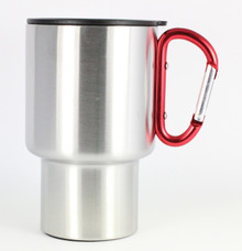 Stainless Steel Travel Mug - Red Handle - 14 Oz.