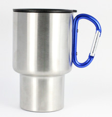 Stainless Steel Travel Mug - Blue Handle - 14 Oz.