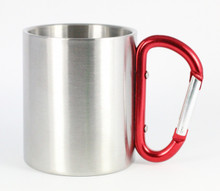 Stainless Steel Carabiner Mug - Red Handle - 8 Oz.
