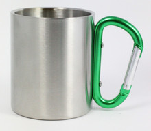 Stainless Steel Carabiner Mug - Green Handle - 8 Oz.