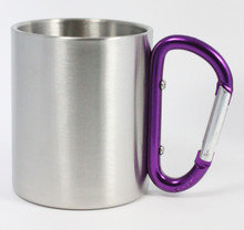 Stainless Steel Carabiner Mug - Purple Handle - 8 Oz.