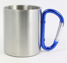 Stainless Steel Carabiner Mug - Blue Handle - 8 Oz.