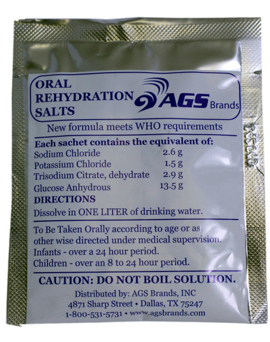 Oral Rehydration Salts  Consumer Pricing   3 Pack                 $6.95 @ $2.32 each  7 Pack                 $12.95 @ $1.85 each  24 Pack              $29.95 @ $1.25 each  Bulk Pricing  25 - 480             $0.95 each  480 - 11,999    $0.75 each  12,000 +           $0.50 each  The Ingredients  Sodium Chloride                           2.6 grams  Potassium Chloride                      1.5 grams  Trisodium Citrate, dehydrate    2.9 grams  Glucose Anhydrous                     13.5 grams