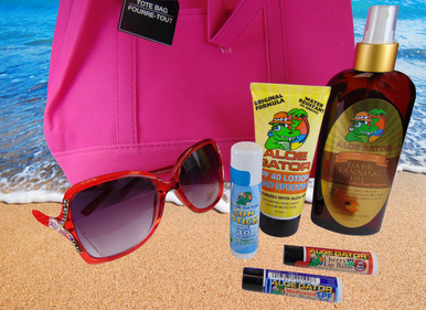 Pick YOUR favorite Sunglasses or Sun-readers for Mom PLUS some of our much loved (like Mum) Suncare products!     ALL FOR $29.95     Total Value $60 Savings of 50%         Rocco's Originals Sunglasses / Sun-readers $24.00     Aloe Gator SPF 40 Lotion 3 oz. $8.00     Aloe Gator Tanning Oil 8 oz. $8.50     Aloe Gator Face Stick 0.60 oz. $4.00     Aloe Gator SPF 30 Lip Balm Cherry Flavor $1.99     Aloe Gator SPF 30 Lip Balm Medicated Flavor $1.99     Free Beach Tote Bag     Free Shipping and Handling