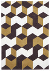 Cube Design Rug Yellow Brown White (ux)
