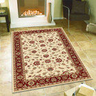 Classic Rug Ivory with Red Border (ux)