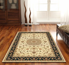 Medallion Rug Ivory with Black Border (ux)