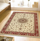 Medallion Rug Ivory with Burgundy Border (ux)