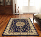 Medallion Rug Blue with Ivory Border (ux)
