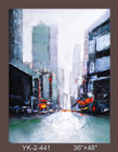 Frameless Hand Painted Oil Painting-city view - 91x122cm