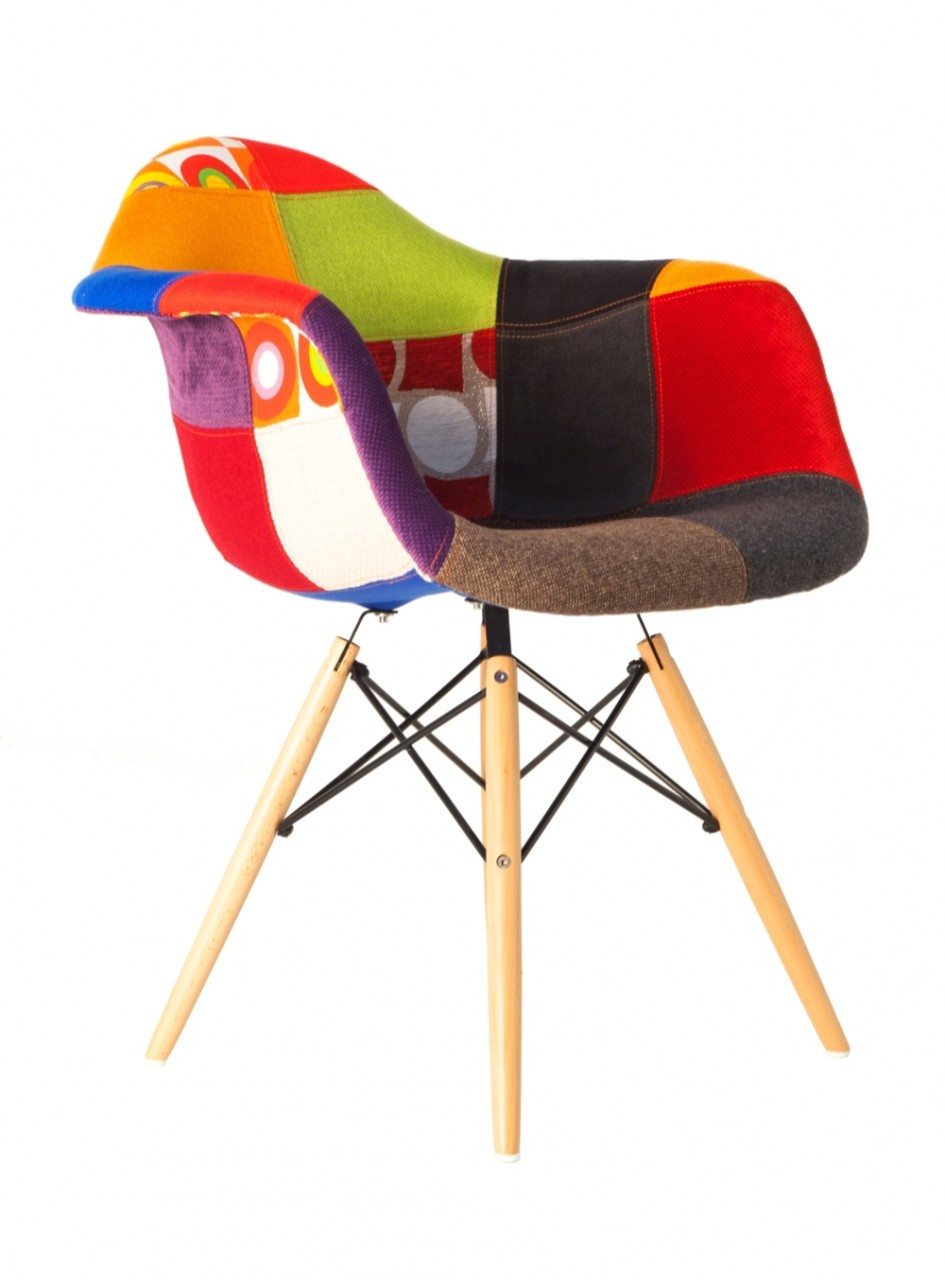 Replica eames daw eiffel chair patchwork fabric replica for Eames plastic armchair daw replica