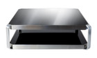 Contemporary coffee table-black glass-stainless steel