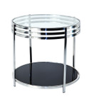 Contemporary lamp table-black & clear glass-stainless steel