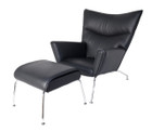Replica Hans Wegner CH445 Wing Chair+footstool-full italian black leather