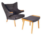 Replica Papa Bear Chair by Hans Wegner-grey fabric