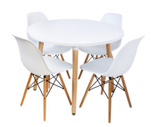 Replica Eames DSW Chairs plastic black steel natural timber