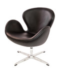 Replica Swan Chair - Premium Italian Leather - Black