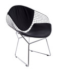 Replica Harry Bertoia Diamond Chair-chrome with black seat and back cushion
