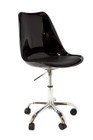 Replica Eero Saarinen Tulip Chair - Black Plastic with wheels
