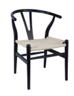 Replica Hans Wegner Wishbone Chair - Black Frame (grain not visible) Natural seat - Beech Timber