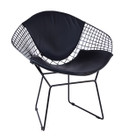 Replica Harry Bertoia Diamond Chair - black powdercoat + back cushion - various colour cushions