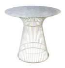 Replica Warren Platner - Wire Dining Table - White Powdercoated - Marble Top - 80cm