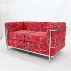 Replica Le Corbusier 2-seater-Red Patchwork Fabric