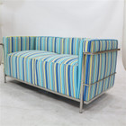 Replica Le Corbusier 2-seater-Blue Patchwork Fabric