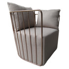 Replica Wire Sofa Armchair - Rose Gold Frame - Grey Cushion