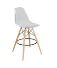 Replica Charles Eames DSW Barstool - clear plastic, black steel, natural timber legs