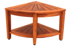 Teak Large Corner Stool With Shelf (hf)