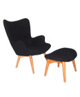 Replica Grant Featherston Contour Chair & Footstool - black soft cashmere