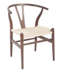 Replica Hans Wegner Wishbone Chair - Dark Walnut Frame (grain visible) Natural seat - Ash Timber