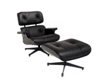 Replica Eames lounge chair+ottoman Limited Edition -Black Aniline Leather with black timber (Leather piping)
