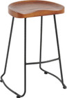 Industrial Barstool - Black or White Frame - Walnut or Natural Ash Timber