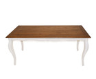 American Oak Timber Dining Table with white curve legs