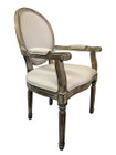 Jean-Paul Armchair with Straight Legs - Natural Linen - White-Washed Oak Timber