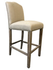 French Provincial Barstool - Natural Linen - American Oak Timber