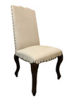 French Provincial Dining Chairs - Natural Linen - Curved Legs in Walnut Timber
