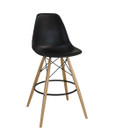Replica Eames DSW Barstool - plastic, black steel, natural wood legs- various colours