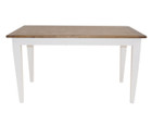 American Oak Timber Dining Table with square white legs