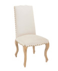 French Provincial Dining Chairs - Natural Linen - Curved Legs in American Oak Timber