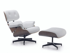 Replica Eames Chair replica eames lounge chair - white leather, brown timber | eames