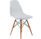 Replica Charles Eames DSW Dining Chair - clear plastic, black steel, natural timber legs