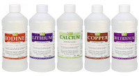 5Pak of Assorted 16oz Minerals (Iodine, Lithium, Calcium, Copper, Molybdenum)