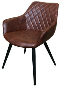 Brown Leatherette Carver Chair