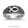 Ichthus on Textured Band - Ladies