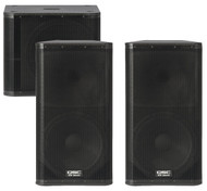 "2 x QSC KW152 1000W 15"" PA Speakers and 1 x QSC KW181 1000W 18"" Subwoofer (150 People)"